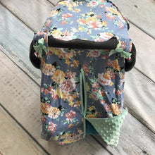 Load image into Gallery viewer, Blanket & Swaddling Grey mint floral Cute Prints Baby Car Seat Cover