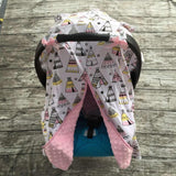 Blanket & Swaddling Pink tent Cute Prints Baby Car Seat Cover