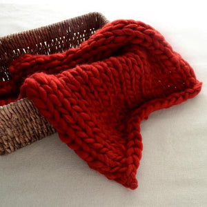 Blankets wine red / 60x60cm Super Chunky Knit Blanket