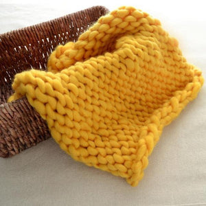 Blankets yellow / 60x60cm Super Chunky Knit Blanket
