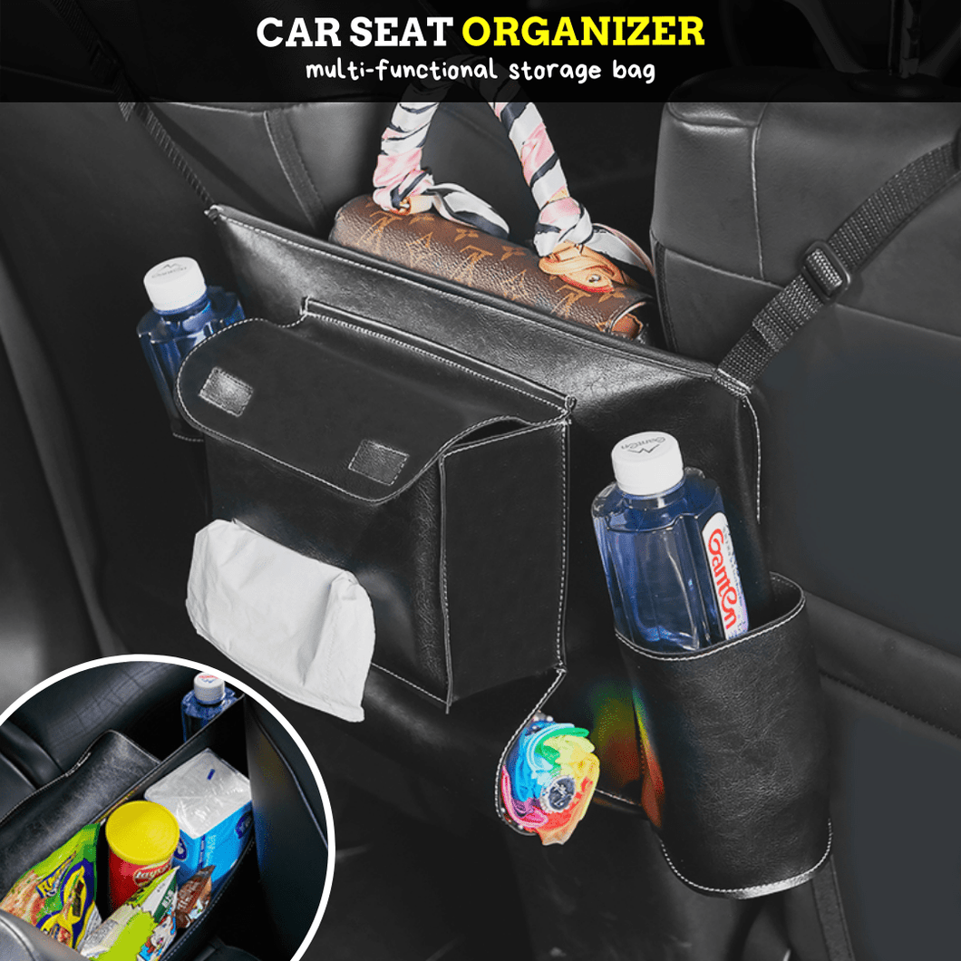 CarHelper Car Seat Organizer Black & White Car Seat Bag
