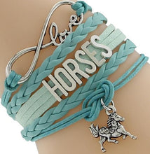 Load image into Gallery viewer, Chain & Link Bracelets Green Horse Lover's Infinity Bracelet