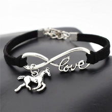 Load image into Gallery viewer, Charm Bracelets Black Horse Simple Infinite Horseshoe Bracelet