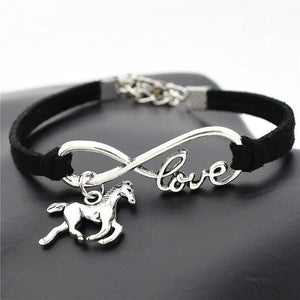 Charm Bracelets Black Horse Simple Infinite Horseshoe Bracelet
