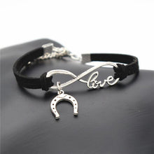 Load image into Gallery viewer, Charm Bracelets Black Simple Infinite Horseshoe Bracelet