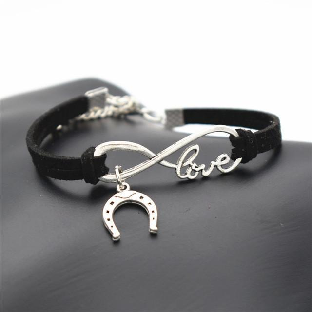 Charm Bracelets Black Simple Infinite Horseshoe Bracelet