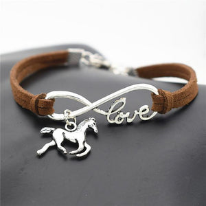Charm Bracelets Dark brown Horse Simple Infinite Horseshoe Bracelet