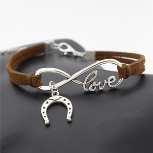 Charm Bracelets Dark Brown Simple Infinite Horseshoe Bracelet