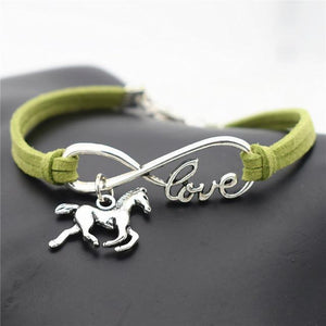 Charm Bracelets Green Horse Simple Infinite Horseshoe Bracelet