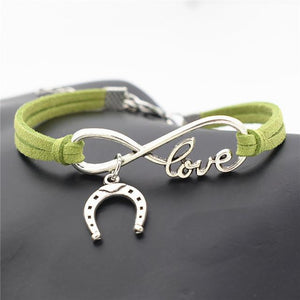 Charm Bracelets Green Simple Infinite Horseshoe Bracelet