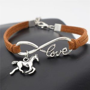 Charm Bracelets Light brown Horse Simple Infinite Horseshoe Bracelet