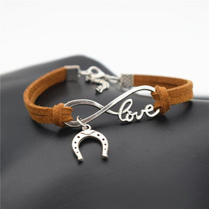 Charm Bracelets Light Brown Simple Infinite Horseshoe Bracelet