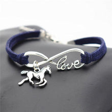Load image into Gallery viewer, Charm Bracelets Navy blue Horse Simple Infinite Horseshoe Bracelet