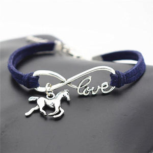 Charm Bracelets Navy blue Horse Simple Infinite Horseshoe Bracelet
