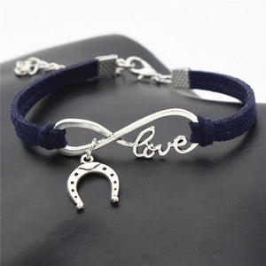 Charm Bracelets Navy Blue Simple Infinite Horseshoe Bracelet
