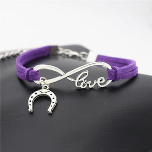 Charm Bracelets Purple Simple Infinite Horseshoe Bracelet