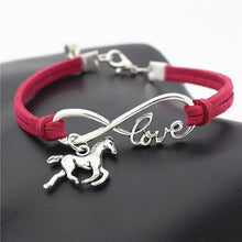 Load image into Gallery viewer, Charm Bracelets Rose red Horse Simple Infinite Horseshoe Bracelet