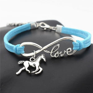 Charm Bracelets Sky blue Horse Simple Infinite Horseshoe Bracelet