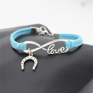 Charm Bracelets Sky Blue Simple Infinite Horseshoe Bracelet