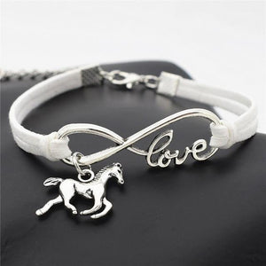 Charm Bracelets White Horse Simple Infinite Horseshoe Bracelet