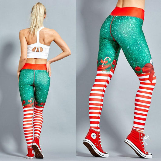 Christmas Style Leggings Stripped Ribbon / XS Leggings