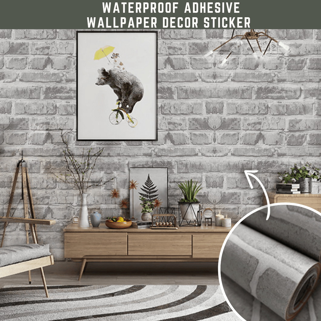 Classy Design® Waterproof Wall Sticker Stylish gray and white brick Wall Stickers