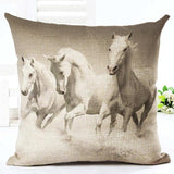 Cushion Cover 11 Running Horse Cotton Linen Pillowcase