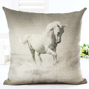 Cushion Cover 13 Running Horse Cotton Linen Pillowcase