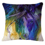 Cushion Cover 2 Running Horse Cotton Linen Pillowcase