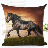 Cushion Cover 7 Running Horse Cotton Linen Pillowcase