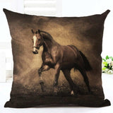 Cushion Cover 8 Running Horse Cotton Linen Pillowcase