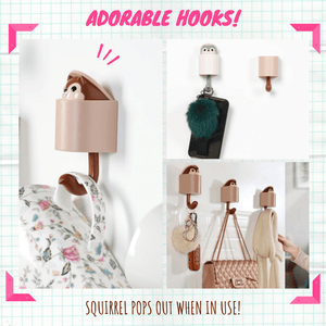 Cuteness Overload - Squirrel Hooks (3 pcs set) Brown + gray (2 pcs set) Hooks & Rails