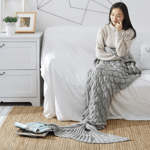 Dreamy Mermaid Tail Blanket Fish Scale Mermaid Tail / Gray / 60 x 140 cm Blankets
