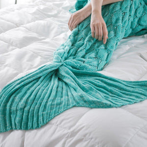 Dreamy Mermaid Tail Blanket Fish Scale Mermaid Tail / Green / 50 x 90 cm Blankets