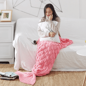 Dreamy Mermaid Tail Blanket Fish Scale Mermaid Tail / Pink / 50 x 90 cm Blankets