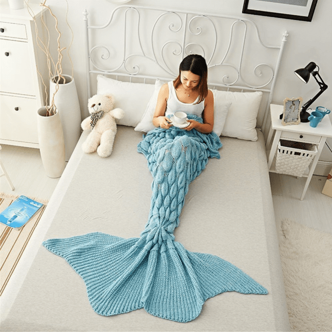 Dreamy Mermaid Tail Blanket Fish Scale Mermaid Tail / Sky Blue / 50 x 90 cm Blankets