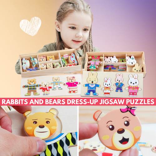 Dress It Up - Rabbit & Bear Dressing Game (52 pcs set) Bear Puzzle Game