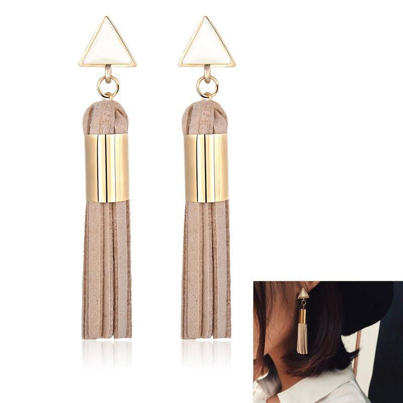 Drop Earrings Beige Vintage Triangle Tassel Drop Earrings