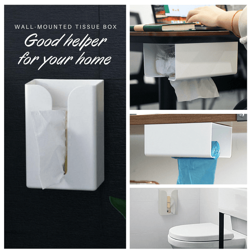 Easy Reach - Wall Mounted Tissue Box White Tissue Holder