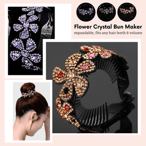 Elegant Bun - Flower Crystal Bun Maker Multi-color Hair Accessories