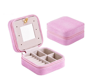 Elegant Outlook Travel Jewelry Box Pink With Mirror Jewelry Box