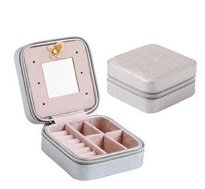 Elegant Outlook Travel Jewelry Box Silver With Mirror Jewelry Box
