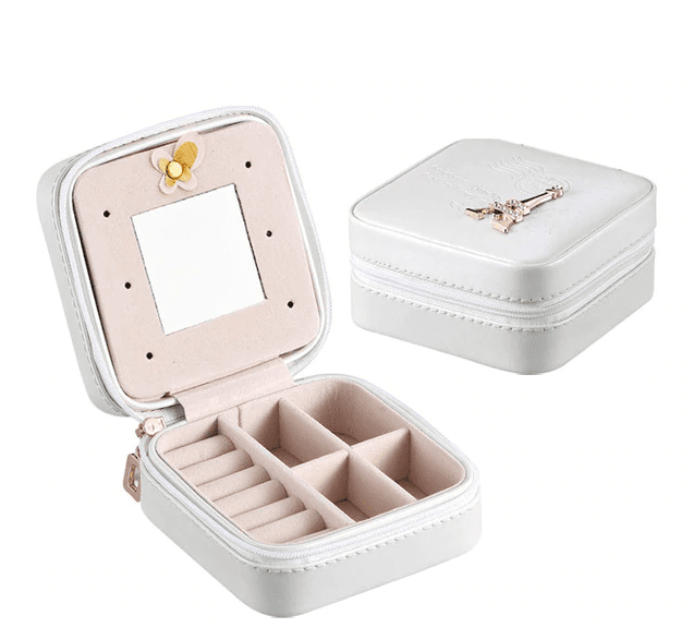 Elegant Outlook Travel Jewelry Box Tower Silver With Mirror Jewelry Box