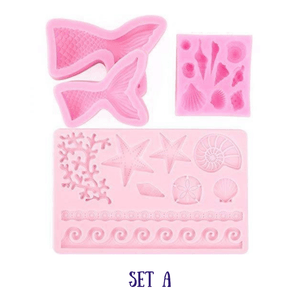 FantaSEA - 3D Silicone Mermaid Mold (4 pcs set) Set A (4 pcs) Cake Molds