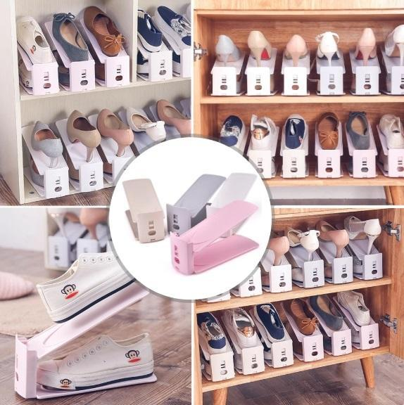 Flexible Shoe Arranger Beige Shoe Racks & Organizers