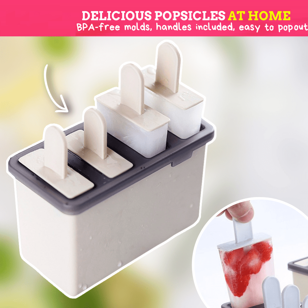 FunPop - DIY Popsicle Mold (4 slot molder) Beige Ice Cream Tubs