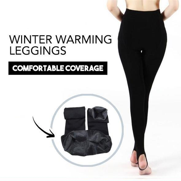 Furry Winter Warming Leggings Black Leggings