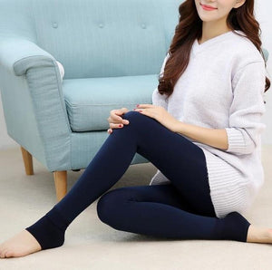 Furry Winter Warming Leggings Blue Leggings