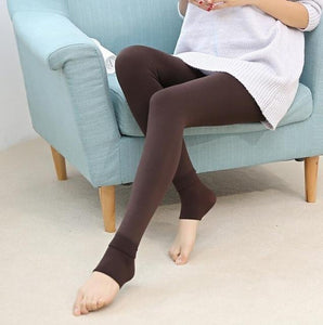 Furry Winter Warming Leggings Brown Leggings