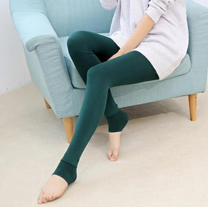 Furry Winter Warming Leggings Green Leggings